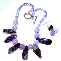 Amethyst Gemstone Necklace Set for Mom