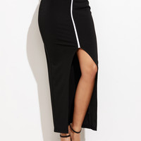 Black Contrast Front Slit Skirt