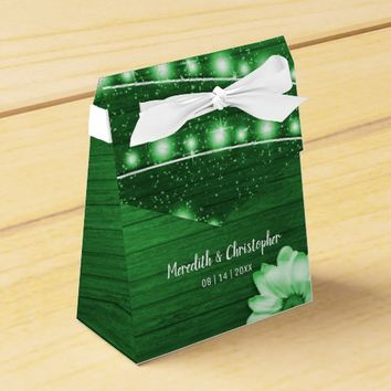 Green Rustic Wood String Lights Daisy Favor Box