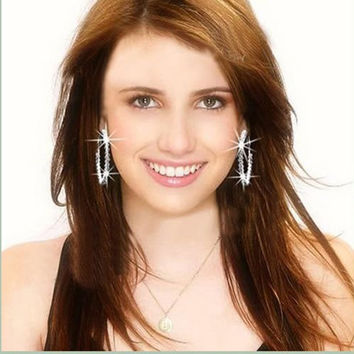 Crystal Rhinestone Exaggerated Luxury Big Circle Earrings Ear Ring SM6