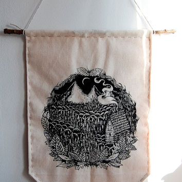 Mountain Cabin hand-pulled banner. Hand sewn screen print.