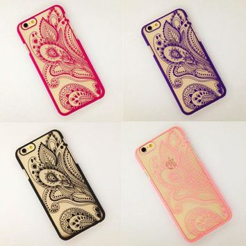 DCK9M2 Beautiful Hollow Henna Floral Paisley Mandala Flower Phone Cases Cover For iPhone 6 4.7 6plus 5.5