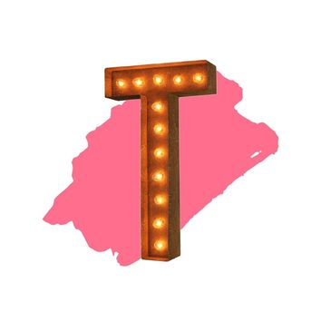 "18"" Letter T Lighted Vintage Marquee Letters (Modern Font/Rustic)"