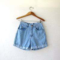 vintage denim shorts / washed out jean shorts / high waist denim shorts / cuffed shorts