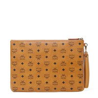 Large Stark Pouch with Wristlet in Cognac by MCM
