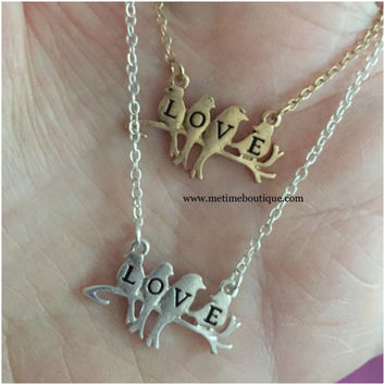 Love Birds Necklace - Gold or Silver