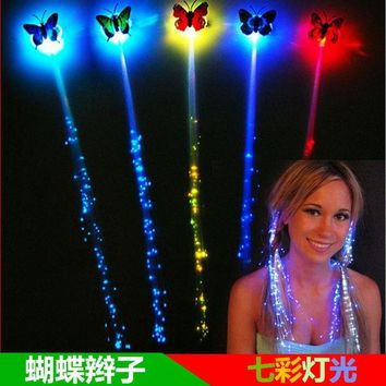 DKF4S 10pcs/lot LED luminous braided wigs Halloween Decorations party atmosphere cheer props fiber colorful butterfly light hair