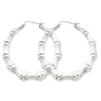 925 Rhodium Flashed Silver 3-D Hollow Bamboo Heart Hoop Earrings - 44mm