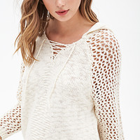 FOREVER 21 Hooded Open-Knit Sweater Cream