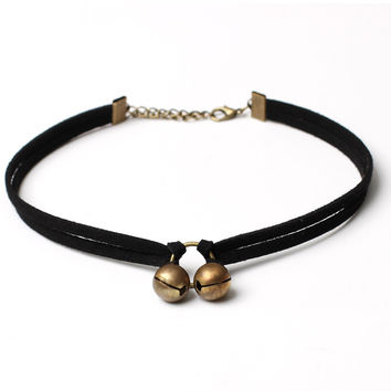 Streetstyle  Casual Double Bells Velvet Choker Necklace