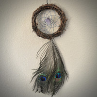 Dreamcatcher with Peacock Feathers, Twig, and Amethyst Gemstone