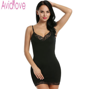 Avidlove Women Dress Sexy V Neck Sleep Dress Strap Lace up Slim Bodycon Mini Dress Casual Solid Night Wear Slip Dress Vestido