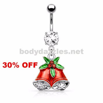 Holiday Silver Gemmed Mistletoe and Bell Dangle Navel Ring Belly Button Ring 14ga Surgical Stainless Steel