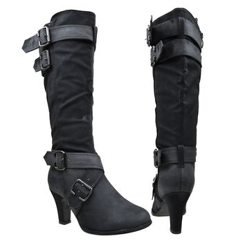 Womens Knee High Boots Strappy Buckle Accent High Heel Shoes Black SZ