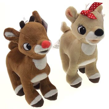 "Rudolph The Red Nosed Reindeer & Clarice 7"" Plush Stuffed Set Misfit Toys New 2017"