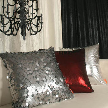 "Handmade Metallic Embellished Decorative Square Pillow Covers Cushion Shells 18"" X 18"""" Silver, Black  Made to Order -Free Fedex Delivery-"