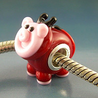 DEVILED HAM Devil Pig Handmade Lampwork Glass Universal BHB European Charm Big Hole Bead sra Gelly