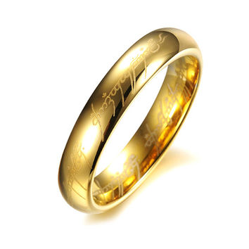 Cute Ring For Female, 100% Tungsten Steel Lucky Love Ring Lord of the Mordor Ring Never Fade