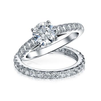 1CT Eternity Band AAA CZ Engagement Wedding Ring Set Sterling Silver