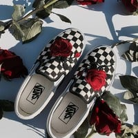 Vans Slip-On Checkerboard Custom Red Rose Sneaker