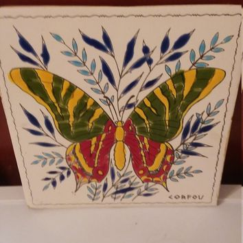 "Ceramic Tile Corfou Multi Colored Butterfly With Floral Background 6"" X 6""  Butterfly Floral Fauna"