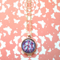 purple and pink bohemian Tribal arrows round glass dome necklace for fashionable kids, tween or teen girl