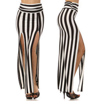 Long Striped Skirt High Waist Double Slit Open Front Maxi Black & White Fashion