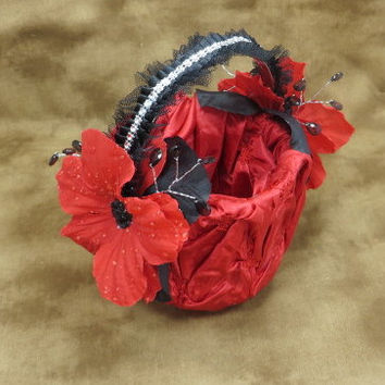 Valentines Day - Basket - Flower Girl - Red And Black - Red Wedding - Black Wedding - Gothic Wedding - Wedding Accessories - Flower Girl