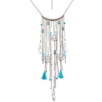 Vintage Tassel Feather Hollow Flower Ethnic Necklace With Blue and Black