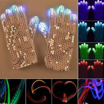 ESBON 1 Pair Flashing Fingertip Light 7 Mode LED Gloves Mittens Costumes Rave Skating Riding Party Supplies Luminous Cool Gloves #15