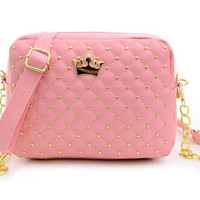 Rivet Chain Leather Crossbody Shoulder Bag