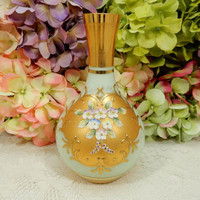 Beautiful Moser Glass Vase ~ Gold Encrusted ~ Hand Painted Applied Flowers