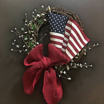 Wreath- Forth of July wreath, American flag wreath, red burlap bow, coffee stained flag, memorial day
