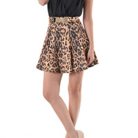 (ane) Belted leopard print georgette skater dress