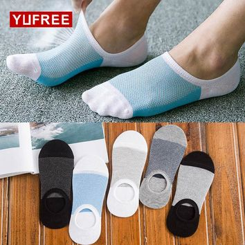 YUFREE 1 Pair Socks Men Slippers Bamboo Fibre Non-slip Silicone Invisible Boat Compression Socks Male Ankle Socks male038