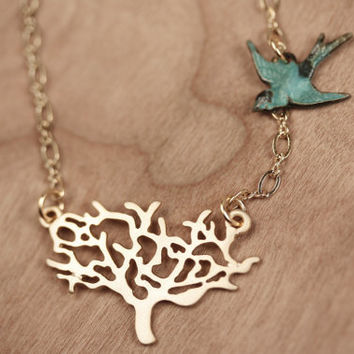Gold Tree and Blue Bird Necklace, Branch Pendant, Swooping Swallow, Antiqued Wings, Tiny Aqua Charm Jewelry