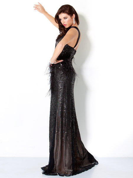 Feather and Beaded Gown, Style 159312