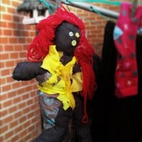 Misfit Betty Soft Rag Toy with red yarn hair and denim body