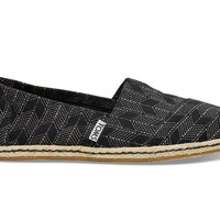 TOMS Black Canvas Sashiko Women's Classics Black