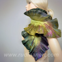 Felted Scarf Wool Silk Art scarf nunofelting Olive by RudmanArt