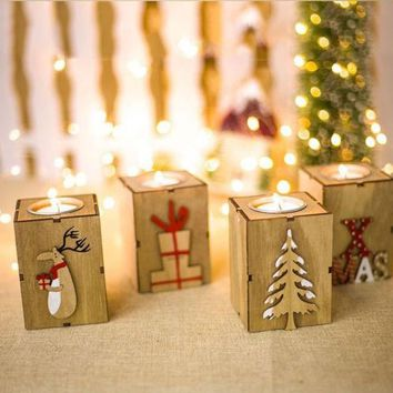 Christmas Wood Candle Holder Candlestick Table Lamp For Tea Light Decoration GOOD Quality New