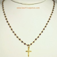 Cross on  Amathyste Braided Chain Necklace