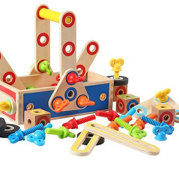 New Arrival Nut Assembly Tool Box 68Pcs Baby Wooden Toys
