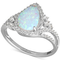 Lab-Created Opal (3/4 ct. t.w.) and White Sapphire (3/8 ct. t.w.) Ring in Sterling Silver | macys.com