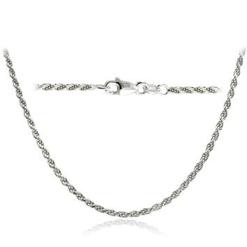 .925 Sterling Silver 2mm Italian Rope Chain Necklace in Lengths 16-30