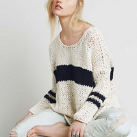 Free People Womens Striped At The Seams Pullover
