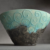 Bowl Matte Blue and Gloss Black Slip Trailed by symmetricalpottery