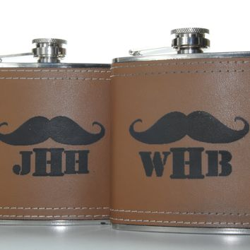 Custom Engraved Leather wrapped 6oz Flask