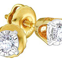 Round Diamond Ladies Fashion Cluster Earrings in 14k Two Tone Gold 0.25 ctw