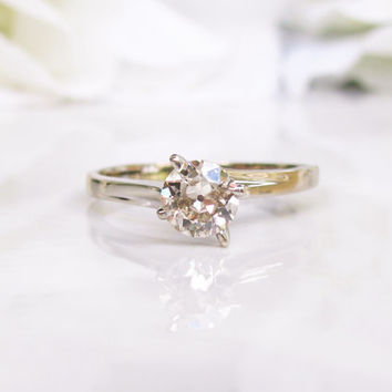 Vintage Engagement Ring 0.65ct Old Cut Champagne Diamond Solitaire 14K White Gold Diamond Wedding Ring Vintage Bridal Jewelry
